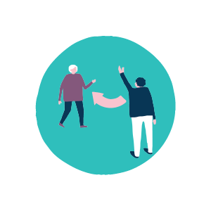 Graphic of two people waving